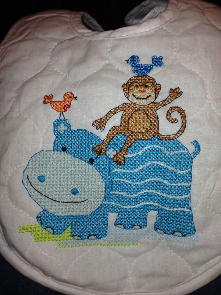Baby bib - hippo and monkey cross stitch