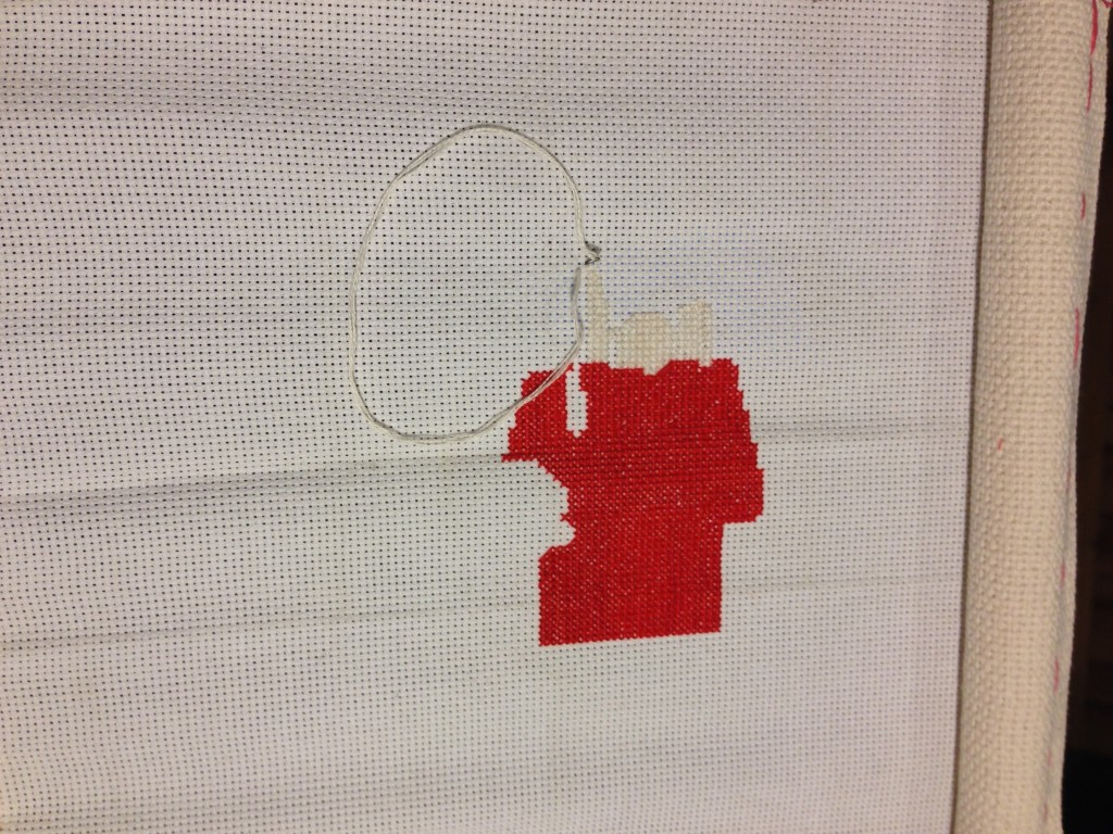 Charlie Brown Cross Stitch Progress